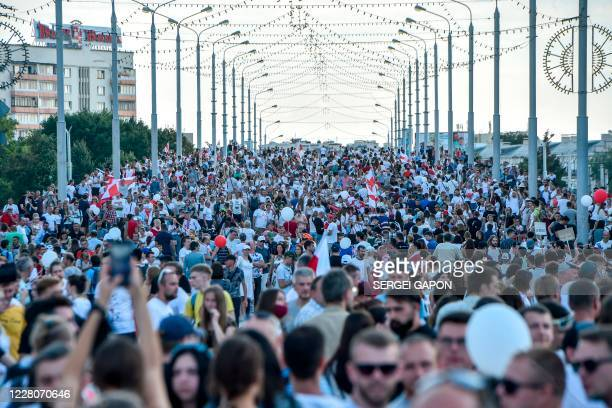 Belarus opposition supporters attend a demonstration in central Minsk on August 16 2020 The Belarusian strongman who has ruled his exSoviet country...