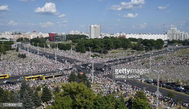 TOPSHOT Belarus opposition supporters attend a rally in central Minsk on August 16 2020 The Belarusian strongman who has ruled his exSoviet country...