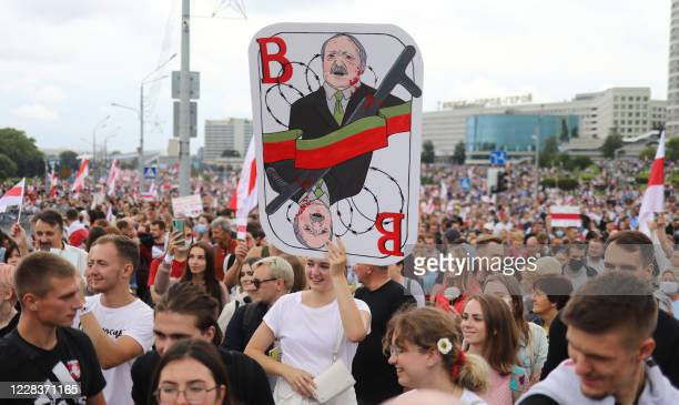 Belarus opposition supporters attend a rally to protest against the disputed August 9 presidential elections results in Minsk on September 6, 2020. -...