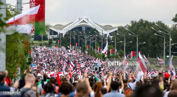 Belarus opposition supporters attend a rally to protest against the disputed August 9 presidential elections results in Minsk on September 6 2020...