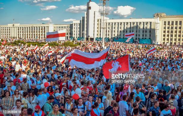 Belarus opposition supporters attend the rally in central Minsk on August 16 2020 The Belarusian strongman who has ruled his exSoviet country with an...