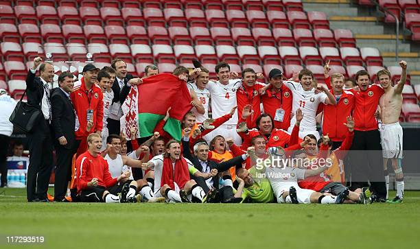 Belarus players celebrate after winning the UEFA European U21 Championship third place playoff match between Czech Republic and Belarus at the...