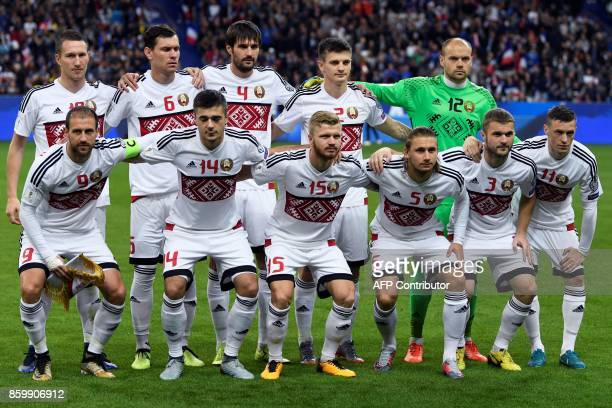 Belarus' players pose prior to the FIFA World Cup 2018 qualification football match between France and Belarus at the Stade de France in SaintDenis...