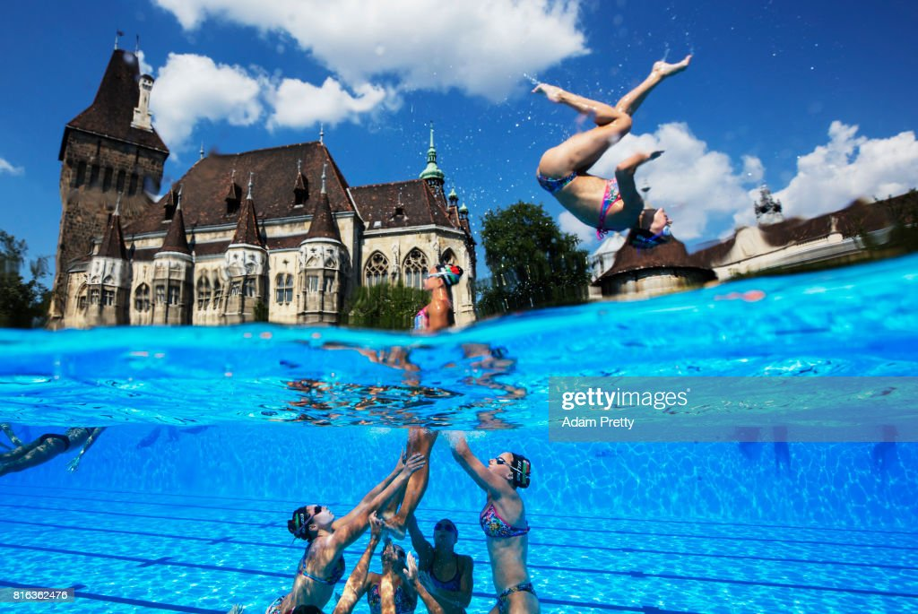 Belarus practice in front of the Vajdahunyad Castle ahead of the Synchronised Swimming Team Technical, preliminary round on day three of the Budapest 2017 FINA World Championships on July 16, 2