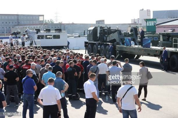 Belarus' President Alexander Lukashenko addresses employees of the Minsk Wheel Tractor Plant in Minsk on August 17 2020 The Belarusian strongman who...