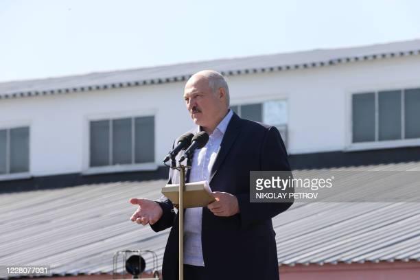 Belarus' President Alexander Lukashenko addresses employees of the Minsk Wheel Tractor Plant in Minsk on August 17 2020 The Belarusian strongman who...