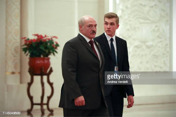 Belarus President Alexander Lukashenko and his son Nikolai Lukashenko leave after the meeting with Chinese President Xi Jinping during the Second...