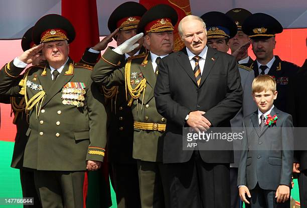 Belarus President Alexander Lukashenko and his young son Nikolay, 'Kolya' Lukashenko , watch a military parade to mark the nation's Independence Day...