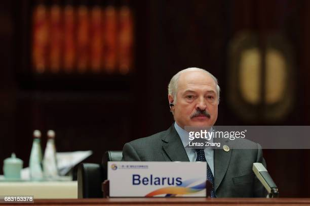 Belarus President Alexander Lukashenko attends the Roundtable Summit Phase One Sessions of Belt and Road Forum at the International Conference Center...