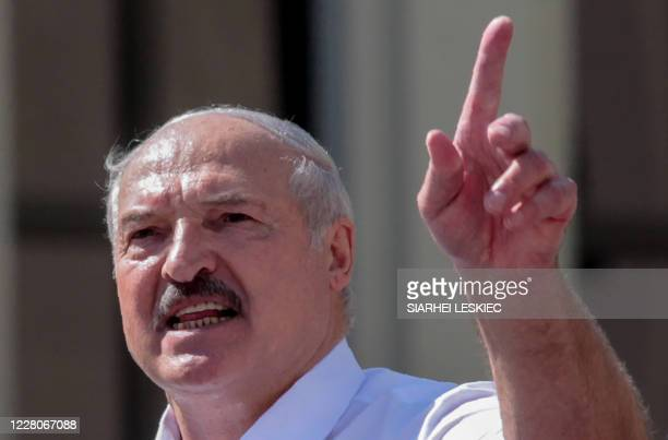 Belarus' President Alexander Lukashenko delivers a speech during a rally held to support him in central Minsk, on August 16, 2020. - The Belarusian...
