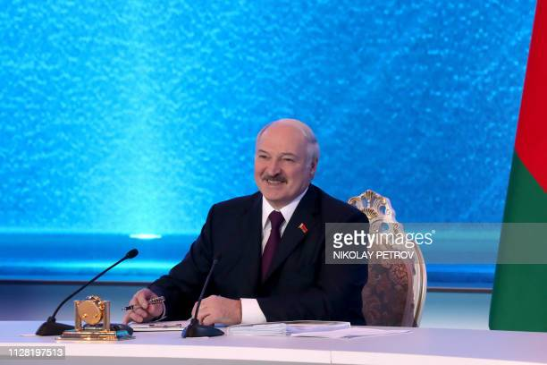Belarus President Alexander Lukashenko meets with members of the public and local and foreign journalists in Minsk on March 1 2019