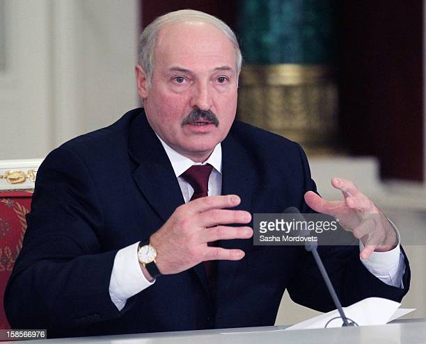 Belarus President Alexander Lukashenko speaks during the Summit of Collective Security Treaty Organisation on December 19 2012 in Moscow Russia...