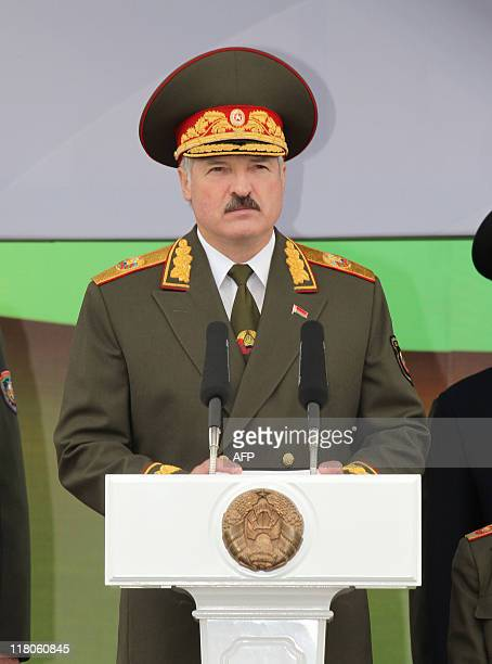 Belarus' President Alexander Lukashenko speaks on July 3, 2011 in Minsk during a military parade in celebration of Independence Day marking the...