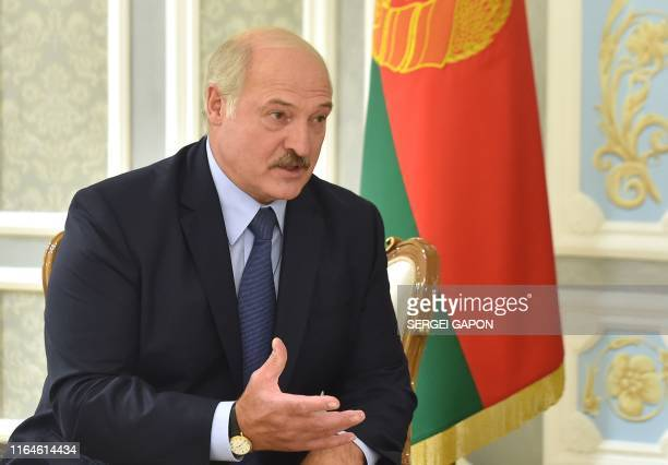 Belarus President Alexander Lukashenko speaks with US National Security Advisor during a meeting in Minsk on August 29 2019