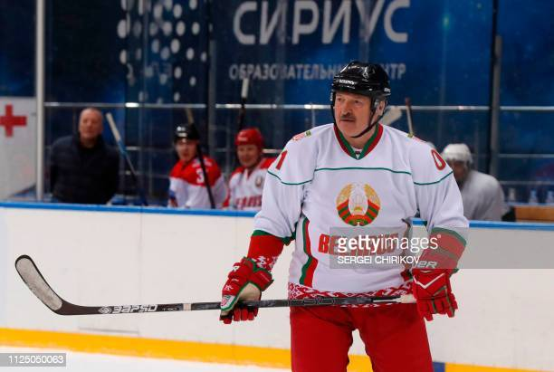 Belarus President Alexander Lukashenko takes part in an ice hockey match at Shayba Arena in the Black sea resort of Sochi Russia on February 15 2019