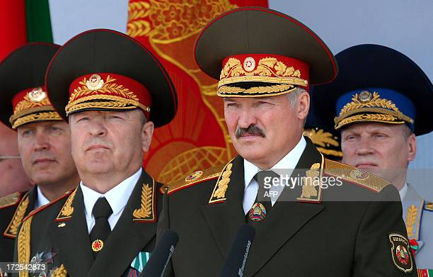 Belarus President Alexander Lukashenko watches Independence Day parade in Minsk, on July 3, 2013. Belarus celebrates tomorrow Independence Day, an...