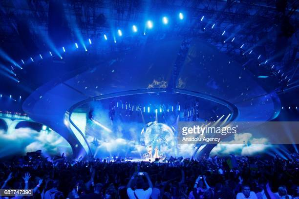 Belarus' representative for Eurovision 2017 Naviband performs on the stage during the GrandFinal of the Eurovision Song Contest in Kiev Ukraine on...