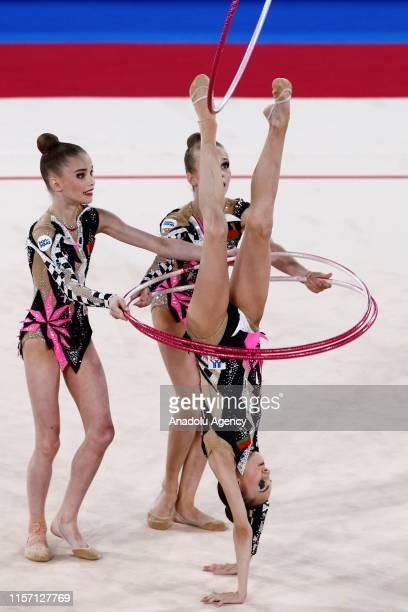 Belarus rhythmic gymnast team performs during the final within the 1st FIG Rhythmic Gymnastics Junior World Championships at Rhythmic Gymnastics...
