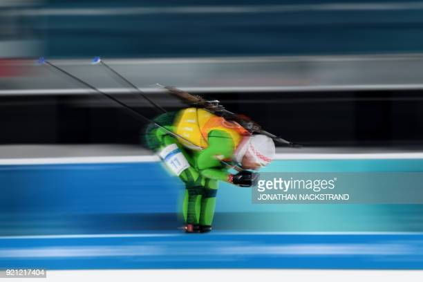 TOPSHOT Belarus' Sergey Bocharnikov competes in the mixed relay biathlon event during the Pyeongchang 2018 Winter Olympic Games on February 20 in...