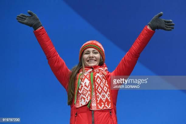 Belarus' silver medallist Darya Domracheva poses on the podium during the medal ceremony for the biathlon women's 12,5km mass start at the...