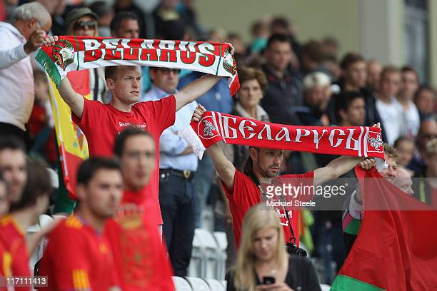 Belarus supporters during the UEFA European Under21 Championship semifinal match between Belarus and Spain at the Viborg Stadium on June 22 2011 in...