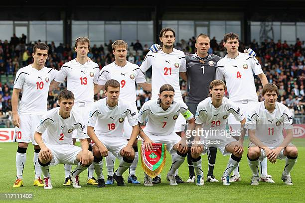 Belarus team group during the UEFA European Under21 Championship semifinal match between Belarus and Spain at the Viborg Stadium on June 22 2011 in...