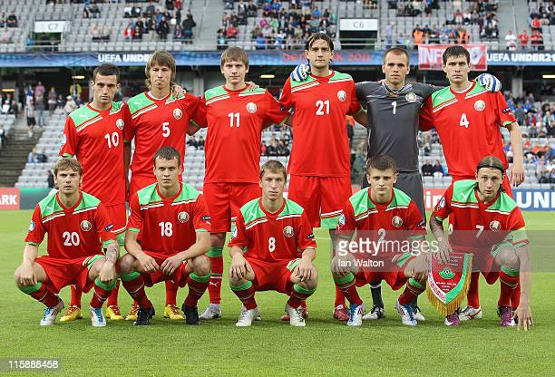 Belarus team line up befor the UEFA European Under21 Championship Group A match between Belarus and Iceland at the Aarhus stadium on June 11 2011 in...