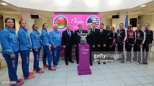Belarus' tennis players Lidziya Marozava Vera Lapko Aliaksandra Sasnovich Aryna Sabalenka captain Eduard Dubrou US tennis players captain Kathy...