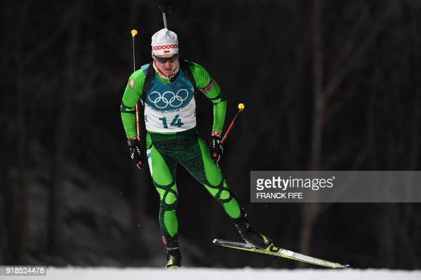 Belarus' Vladimir Chepelin competes in the men's 20km individual biathlon event during the Pyeongchang 2018 Winter Olympic Games on February 15 in...
