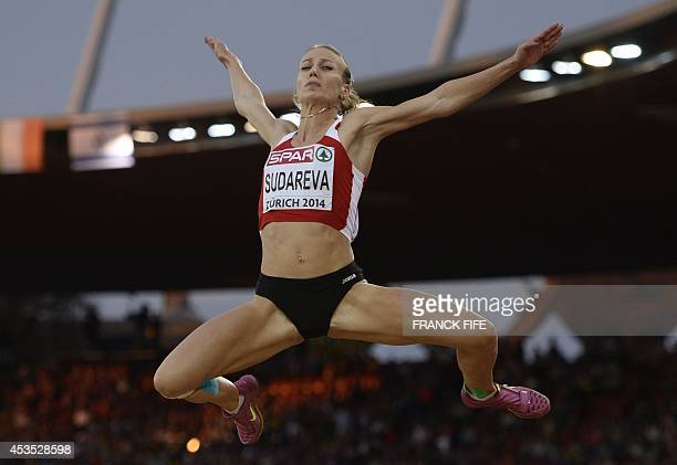 Belarus' Volha Sudareva competes in the Women's long jump qualifying round during the European Athletics Championships at the Letzigrund stadium in...