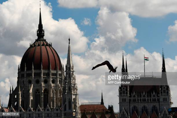 TOPSHOT Belarus' Yana Nestsiarava competes in round 1 of the women's High Diving competition at the 2017 FINA World Championships in Budapest on July...