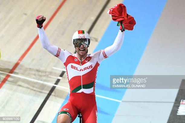 Belarus' Yauheni Karaliok celebrates after winning the men's Scratch final during the UCI Track Cycling World Championships in Apeldoorn on March 1...