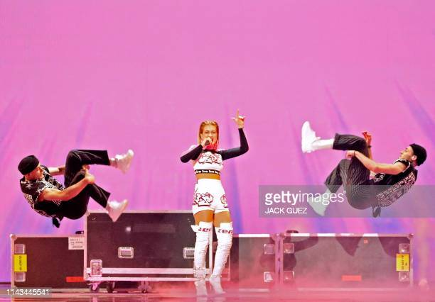Belarus' Zena rehearses ahead of the 64th edition of the Eurovision Song Contest in the Israeli coastal city of Tel Aviv on May 13 2019