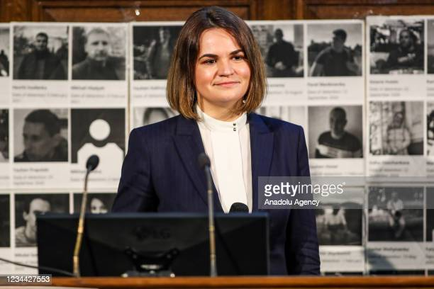 Belarusian human rights activist and opposition politician Sviatlana Tsikhanouskaya delivers a speech and and a Q & A session with the Belarusian...