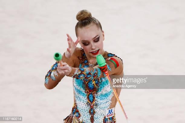 Belarusian individual Darya Tkatcheva rhythmic gymnast performs final during the 1st FIG Rhythmic Gymnastics Junior World Championships at Rhythmic...