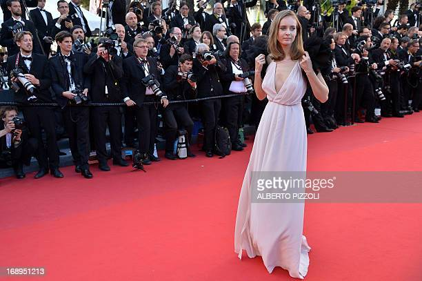 Belarusian model Olga Sorokina poses on May 17 2013 as she arrives for the screening of the film 'The Past' presented in Competition at the 66th...