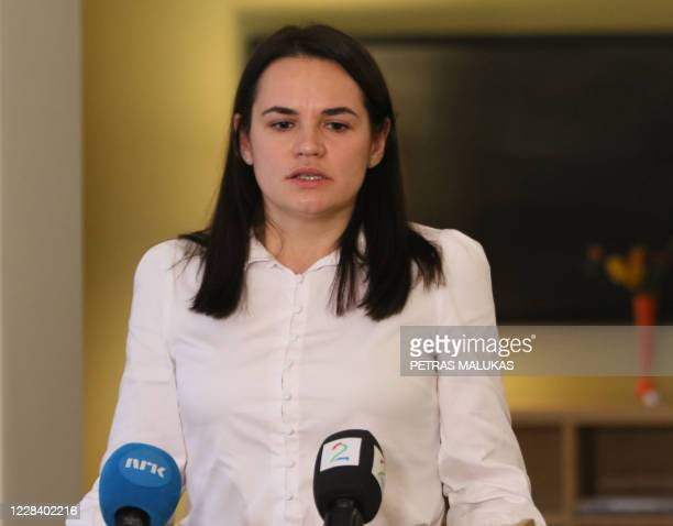 Belarusian opposition figurehead Svetlana Tikhanovskaya talks to the medias during a biefing with Norwegian Prime Minister at the residence of the...