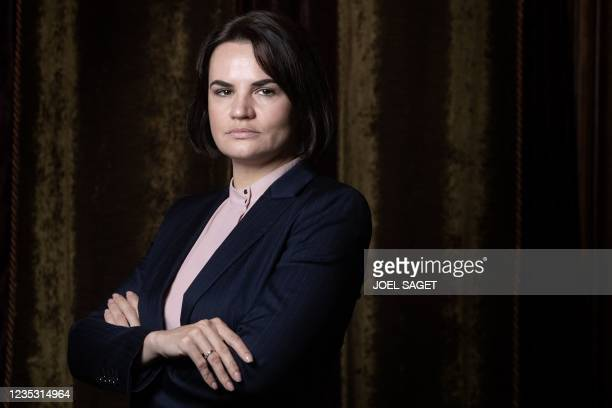 """Belarusian opposition leader Svetlana Tikhanovskaya poses during a photo session in Paris on September 17, 2021. - There is """"no way out"""" for..."""