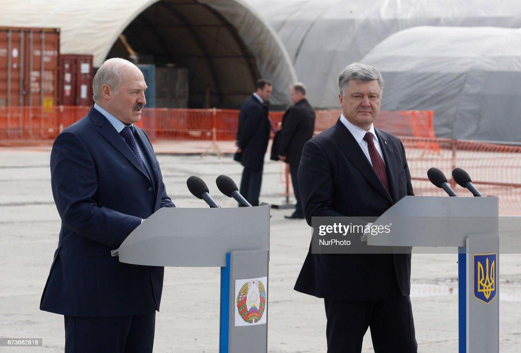 Ukraine and belarus presidents visit the chernobyl nuclear power belarusian president alexander lukashenko l and ukrainian president petro poroshenko r speaks freerunsca Images