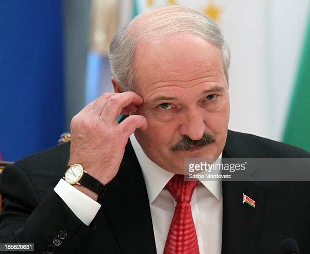 Belarusian President Alexander Lukashenko attends a plenary session of the Summit of Commonwealth States on October 25 2013 in Minsk Belarus Leaders...