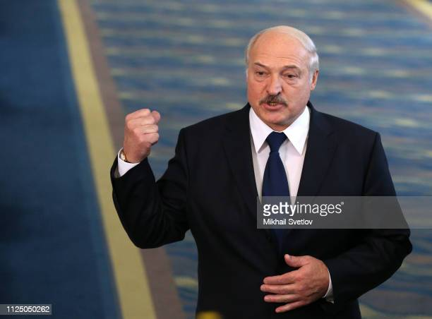 Belarusian President Alexander Lukashenko gestures during a joint press conference on February 15, 2019 in Sochi, Russia. Russian President Putin has...