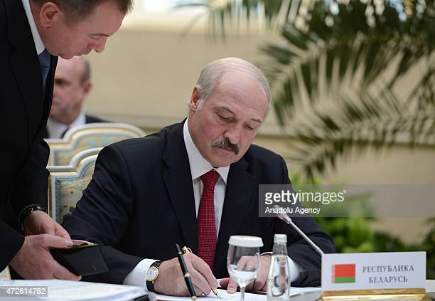 Belarusian President Alexander Lukashenko is seen during the High Eurasia Economic Council meeting at the Kremlin in Moscow Russia on May 8 2015 The...