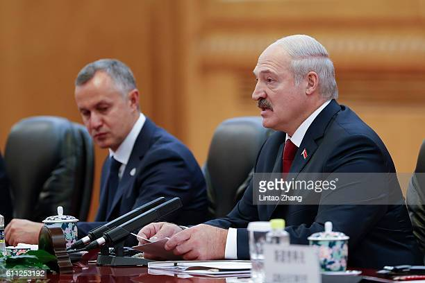 Belarusian President Alexander Lukashenko meets with Chinese President Xi Jinping at Great Hall of the People on September 29 2016 in Beijing China...
