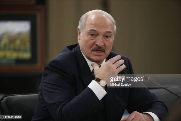 Belarusian President Alexander Lukashenko talks during a RussianBelarusian talks on February 15 2019 in Sochi Russia Russian President Putin has...
