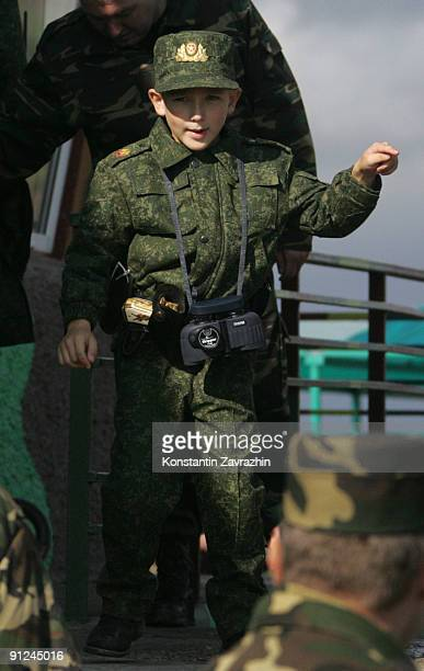 Belarusian President Alexander Lukashenko's son Nikolai Lukashenko attends a military parade after combined military exercises on September 29, 2009...