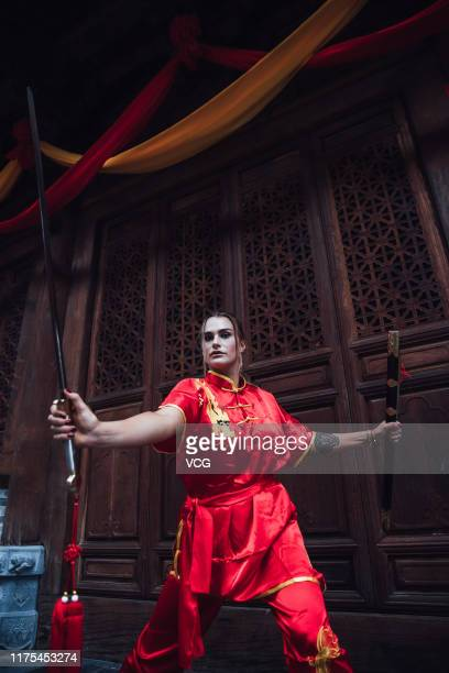 Belarusian tennis player Aryna Sabalenka visits the Shaolin Temple on September 16 2019 in Dengfeng Henan Province of China