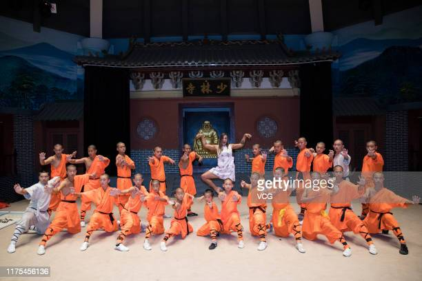 Belarusian tennis player Aryna Sabalenka visits the Shaolin Temple on September 16, 2019 in Dengfeng, Henan Province of China.