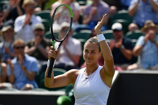 Belarus's Aryna Sabalenka celebrates winning against Colombia's Maria Camila Osorio Serrano during their women's singles third round match on the...