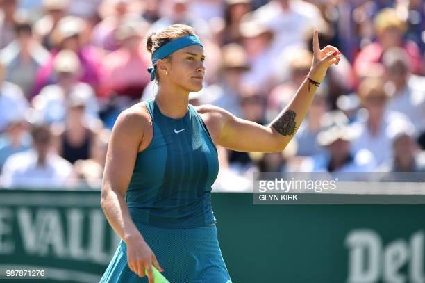 Belarus's Aryna Sabalenka reacts during her Women's singles finals match against Denmark's Caroline Wozniacki at the ATP Nature Valley International...