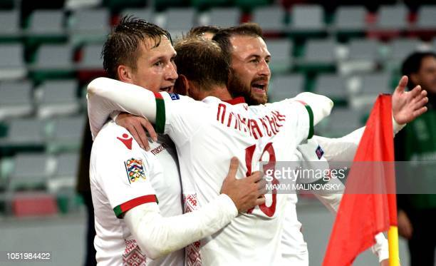 Belarus's players celebrate their goal during the UEFA Nations League football match between Belarus and Luxembourg in Minsk on October 12 2018